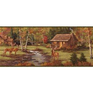Bordure de papier peint encollée Chesapeake, ruisseau et cerfs, 8,25 po, brun