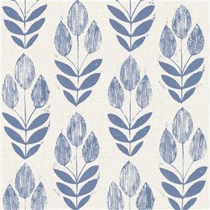 Papier peint non encollé et non tissé Simple Space 2 par Beacon House, 56,4 pi², bleu et beige