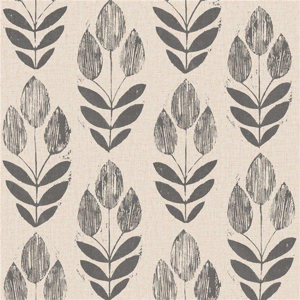 Papier peint non encollé et non tissé Simple Space 2 par Beacon House, 56,4 pi², noir et beige