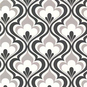 Papier peint non encollé et non tissé Simple Space 2 par Beacon House, 56,4 pi², noir et blanc