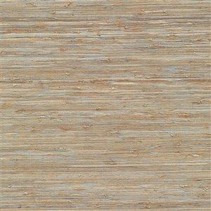 Papier peint non encollé en toile de ramie Canton Road par Kenneth James, 72 pi², cuivré
