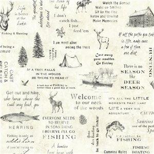 Papier peint encollé Echo Lake Lodge par Chesapeake, 56,4 pi², crème
