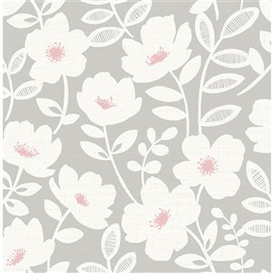 Brewster Essentials Unpasted Nonwoven Wallpaper - 56.4-sq. ft. - Pink and Grey
