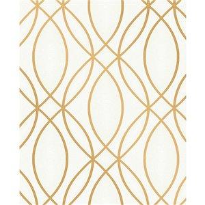 Papier peint non encollé en vinyle Metallic par Advantage, 56,4 pi², blanc et or