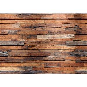 Peinture murale au motif de bois recycléIdeal Décor, non encollée, 100 po x 144 po