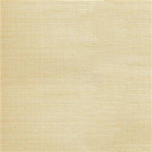 Papier peint non encollé en toile de ramie Zen par Kenneth James, 72 pi², crème