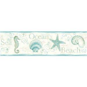 Bordure de papier peint encollée Island Bay Chesapeake, coquillages, 6,83 po, sarcelle