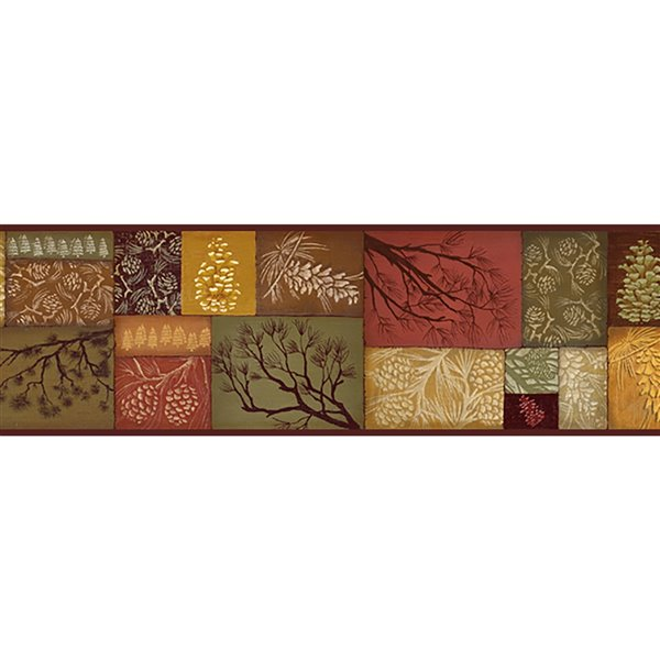 Chesapeake Pinecone Country Patchwork Prepasted Wallpaper Border - 6-in - Brown and Red