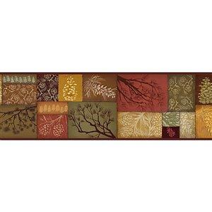 Bordure de papier peint encollée Chesapeake, patchwork de pomme de pin, 6 po, brun et rouge