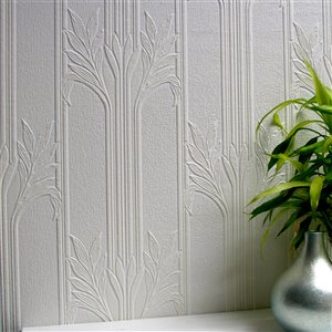 Brewster Anaglypta X Wildacre Unpasted Vinyl Wallpaper - Paintable - 57.5-sq. ft. - White