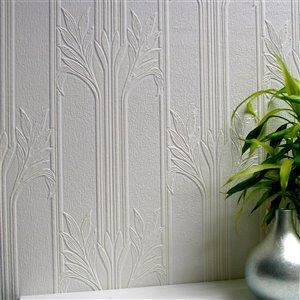 Papier peint non encollé en vinyle Wildacre Anaglypta X par Brewster, peut être peint, 57,5 pi², blanc