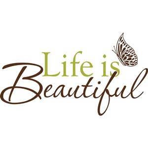 WallPops Life is Beautiful Quote Self-Adhesive Wall Sticker - 17.25-in x 19.5-in