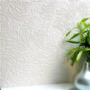Papier peint non encollé en vinyle Surf Anaglypta X par Brewster, peut être peint, 56,4 pi², blanc