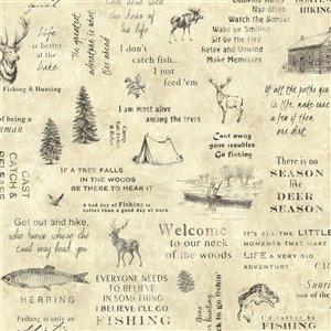 Papier peint encollé Echo Lake Lodge par Chesapeake, 56,4 pi², beige