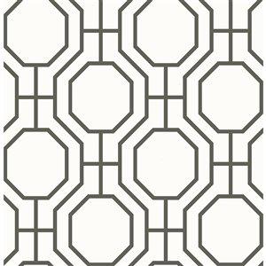 Papier peint non encollé et non tissé For Your Bath III par Brewster, 56,4 pi², noir et blanc