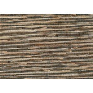 Papier peint non encollé en toile de ramie Jiangsu par Kenneth James, 72 pi², gris