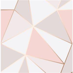 Papier peint non encollé et non tissé Medley par Fine Decor, 56,4 pi², rose et or