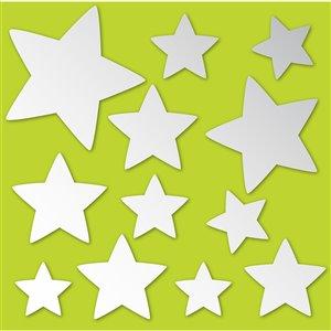 Trousse d'art mural étoiles réfléchissantes de Brewster, 13 po x 26 po, ens. de 24