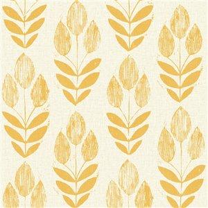 Papier peint non encollé et non tissé Simple Space 2 par Beacon House, 56,4 pi², jaune et beige