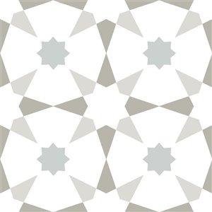Tuile de vinyle autocollante Stellar de FloorPops, 12 po x 12 po, blanc et gris, 10 pièces