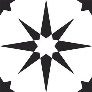 Tuile de vinyle autocollante Altair de FloorPops, 12 po x 12 po, noir et blanc, 10 pièces