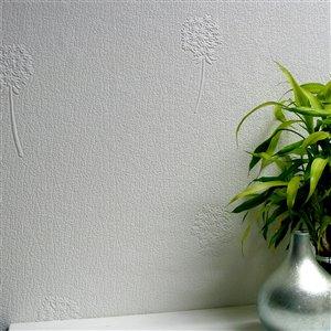 Papier peint non encollé en vinyle Dandelion Anaglypta X par Brewster, peut être peint, 57,5 pi², blanc