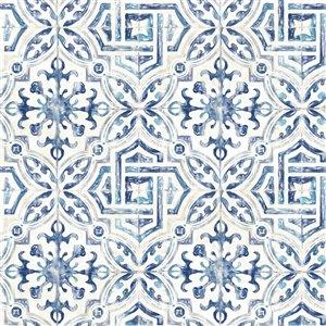 Papier peint encollé non tissé Fresh Start par Brewster, 56,4 pi², bleu marin