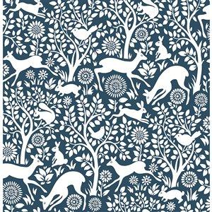 Papier peint non encollé et non tissé Essentials par Brewster, 56,4 pi², bleu et blanc