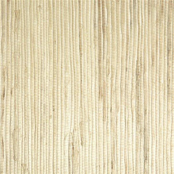Papier peint non encollé en toile de ramie Jade par Kenneth James, 72 pi², crème