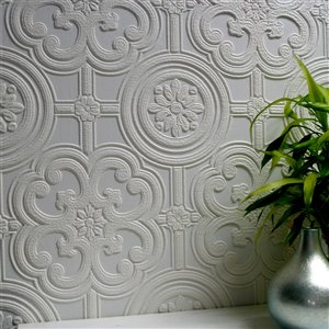 Brewster Anaglypta X Egon Unpasted Vinyl Wallpaper - Paintable - 57.5-sq. ft. - White