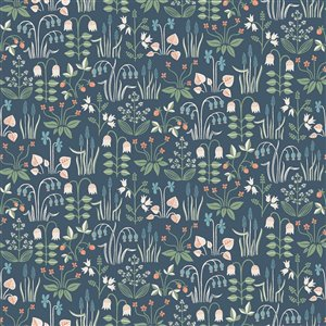 Wall Vision In Bloom Unpasted Nonwoven Wallpaper - 57.8-sq. ft. - Navy Blue