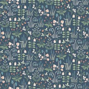 Papier peint non encollé et non tissé In Bloom par Wall Vision, 57,8 pi², bleu marin