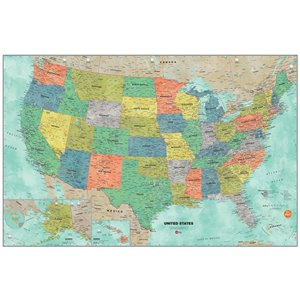 WallPops USA Dry Erase Map Self-Adhesive Wall Sticker - 36-in x 24-in