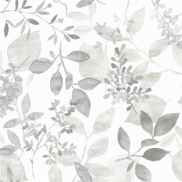 Papier peint autoadhésif en vinyle Breezy par NuWallpaper, 30,75 pi², gris