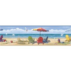 Bordure de papier peint encollée Lori Chesapeake, plage d'été, 9 po, bleu
