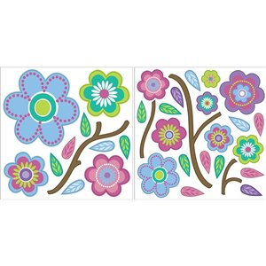 WallPops Floral Pattern Self-Adhesive Wall Sticker - 26-in x 26-in