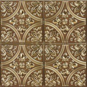 Tuile auto-adhésive au motif abstrait de InHome, 20 po x 20 po, bronze, 4 pièces