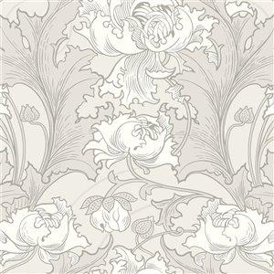 Papier peint non encollé et non tissé In Bloom par Wall Vision, 57,8 pi², gris