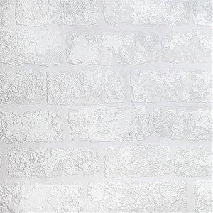 Papier peint non encollé en vinyle Lincolnshire Anaglypta X par Brewster, peut être peint, 57,5 pi², blanc