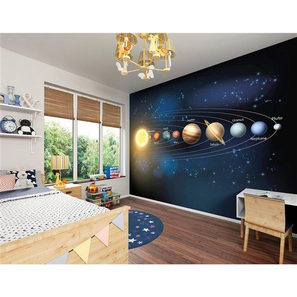 Peinture murale système solaire ohpopsi, non encollée, 118 po x 94 po