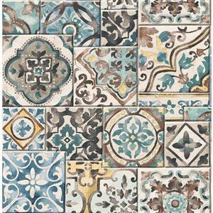 Papier peint non encollé et non tissé Fresh Start par Brewster, 56,4 pi², bleu