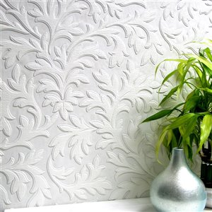 Brewster Anaglypta X Leaf Unpasted Vinyl Wallpaper - Paintable - 57.5-sq. ft. - White