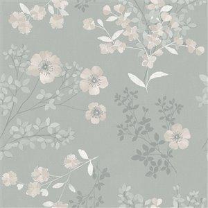 Papier peint non encollé et non tissé In Bloom par Wall Vision, 57,8 pi², taupe