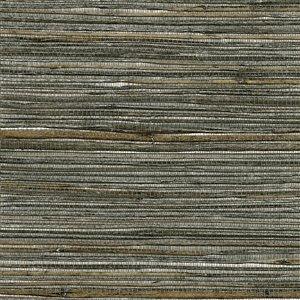 Papier peint non encollé en toile de ramie Canton Road par Kenneth James, 72 pi², argent et brun