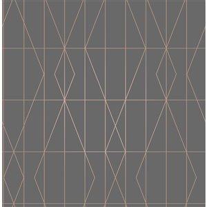 Papier peint non encollé et non tissé Essentials par Brewster, 56,4 pi², gris graphite