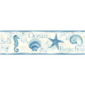 Bordure de papier peint encollée Island Bay Chesapeake, coquillages, 6,83 po, bleu