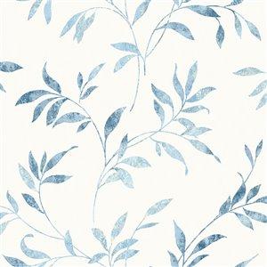 Papier peint encollé The Vineyard par Chesapeake, 56,4 pi², bleu pâle