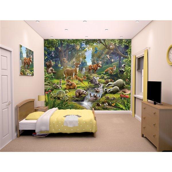 Peinture murale animaux de la forêt Walltastic, non encollée, 120 po x 96 po