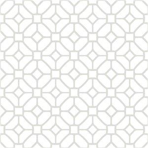 Tuile de vinyle autocollante Lattice de FloorPops, 12 po x 12 po, blanc, 10 pièces