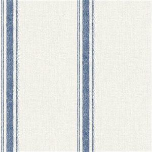 Papier peint encollé Farmhouse par Chesapeake, 56,4 pi², bleu